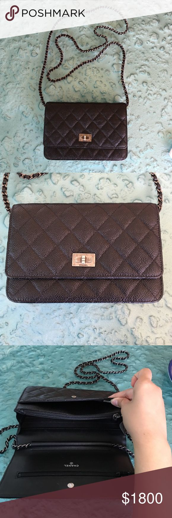 Authentic Chanel Reissue 2.55 (WOC) caviar Still new, bought it last year 2015 in Waikiki Hawaii.It's in perfect condition 9.5/10. Lost everything bag only. Chanel Bags Crossbody Bags
