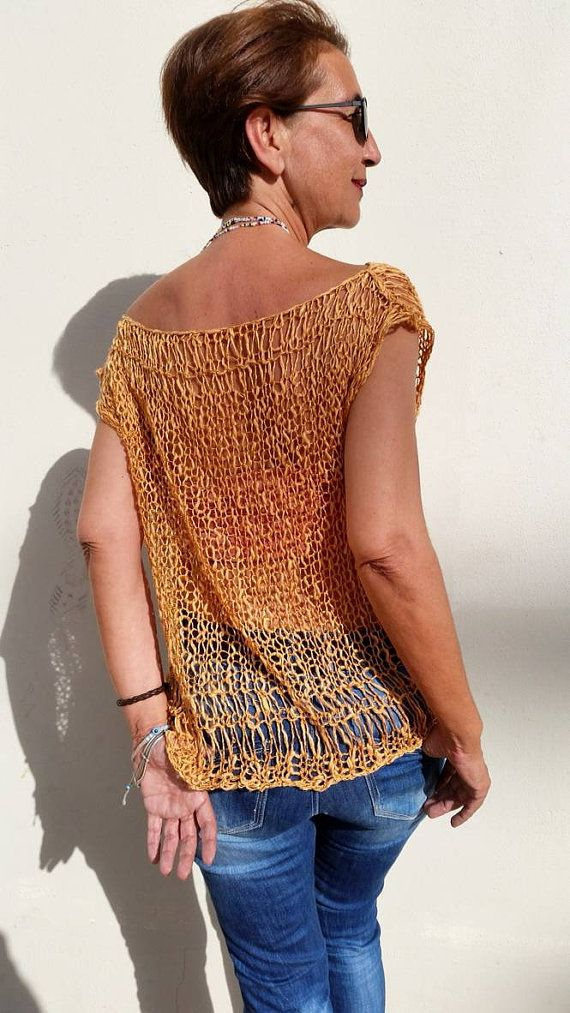Cotton tank top loose knit sweater women knit sweater by EstherTg