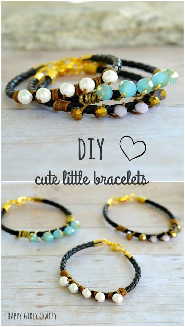 Leather and beads cute little bracelets DIY