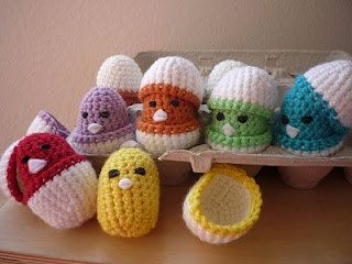 """Crocheted easter egg toy for babies - If I could crochet, I'd so make these! I think they're hilarious and adorable. need to get better at my crotchet game!"" #crotchet #animals #toys #crotchetanimals Crotchet Animals Must make!"