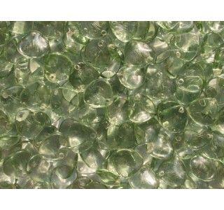 50pcs Rose Petal 7x8mm Pressed Czech Glass Beads Transparent Erinite