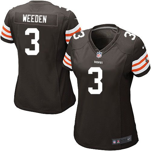 Women's Nike Cleveland Browns #3 Brandon Weeden Elite Team Color Brown Jersey $109.99