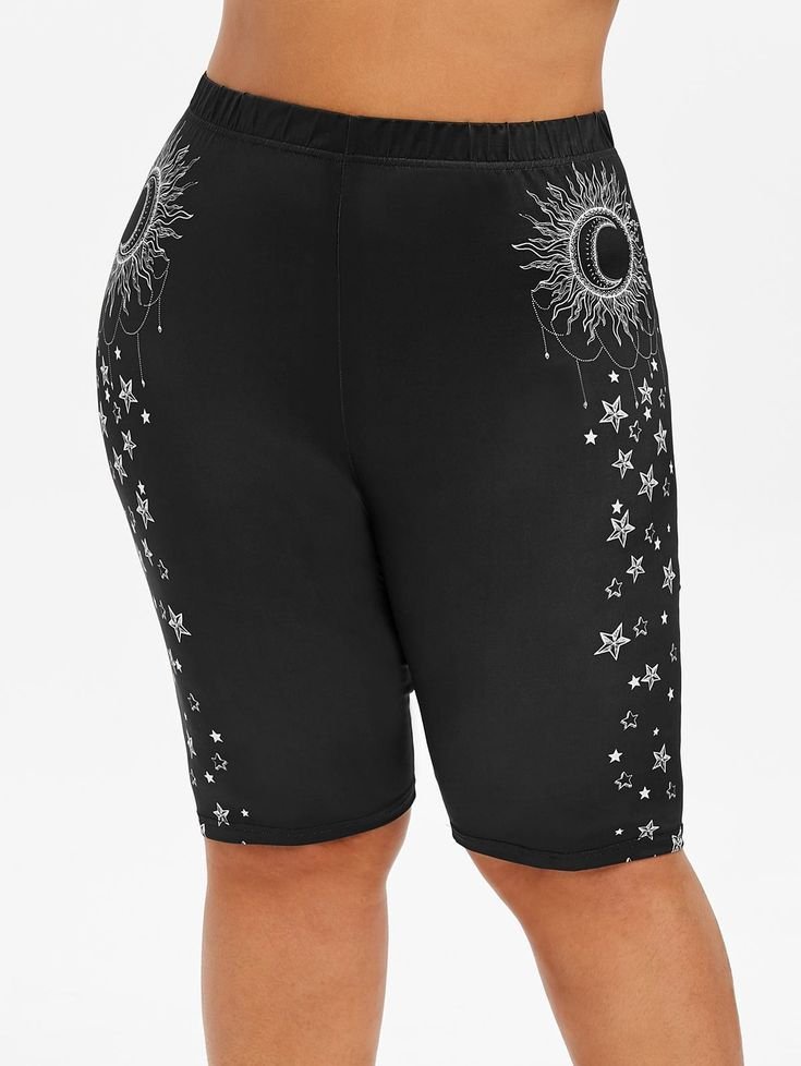 Sun Star Moon Plus Size Biker Shorts   - Classic Styles - #Biker #Classic #Moon ...