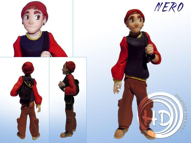 Este es Nero, el segundo de abordo de Daren. Es un buen amigo y confidente. Podéis conocer más sobre este simpático muchacho en http://darenelemisariodelamuerte.blogspot.com.es/  Figura de 16-17 cm aprox. hecha totalmente a mano. Materiales: FIMO. Diseños Hicade