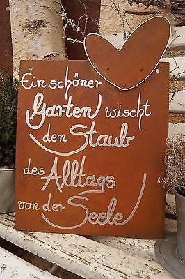 Edelrost Tafel mit Herz Alltag Gartendeko Schild Gedichttafel Spruch Text – Heike Becker-Philippi