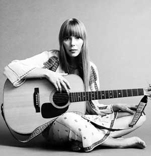 Joni Mitchell. Favourite female singer/songwriter and vocalist ever. She puts her soul into everything she does and she's constantly breaking my heart.