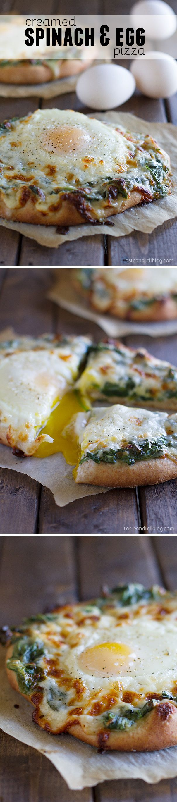Creamed Spinach and Egg Pizza - Breakfast meets dinner in this pizza that is topped with creamed spinach and a perfectly cooked baked egg.