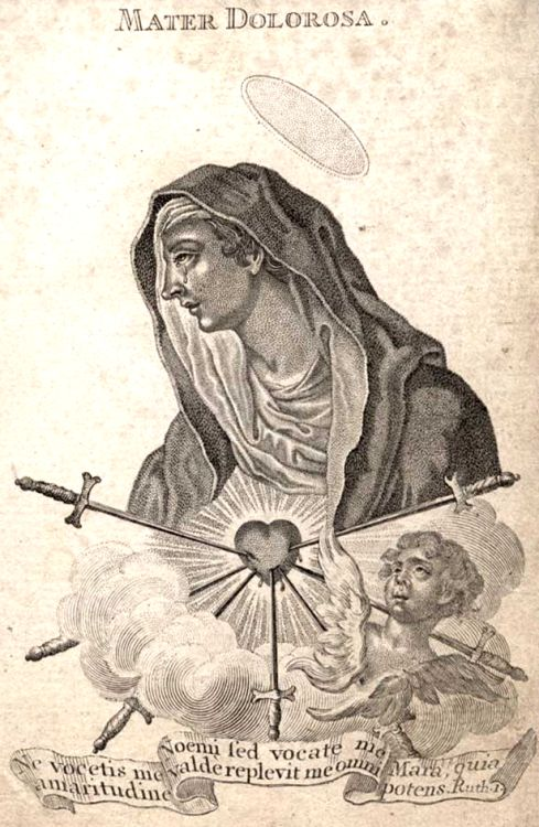 Mater Dolorosa An engraving by Klauber of Our Lady of Seven Sorrows.