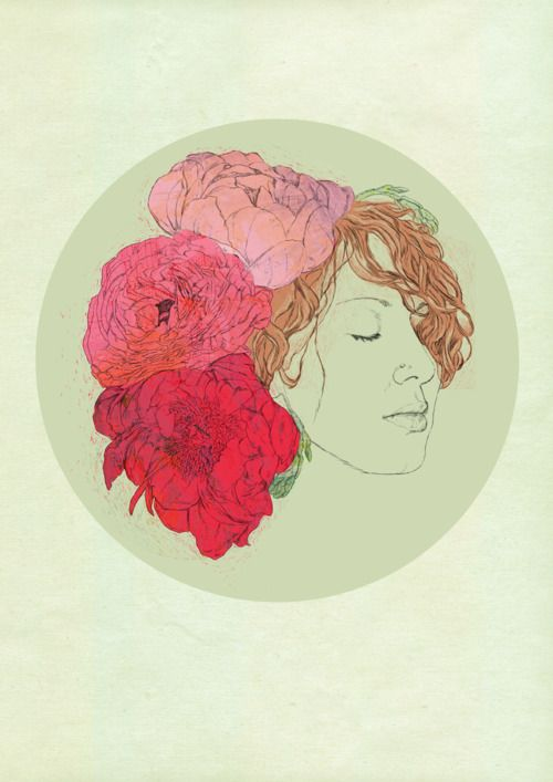 Illustration // art // drawing // girl // piones
