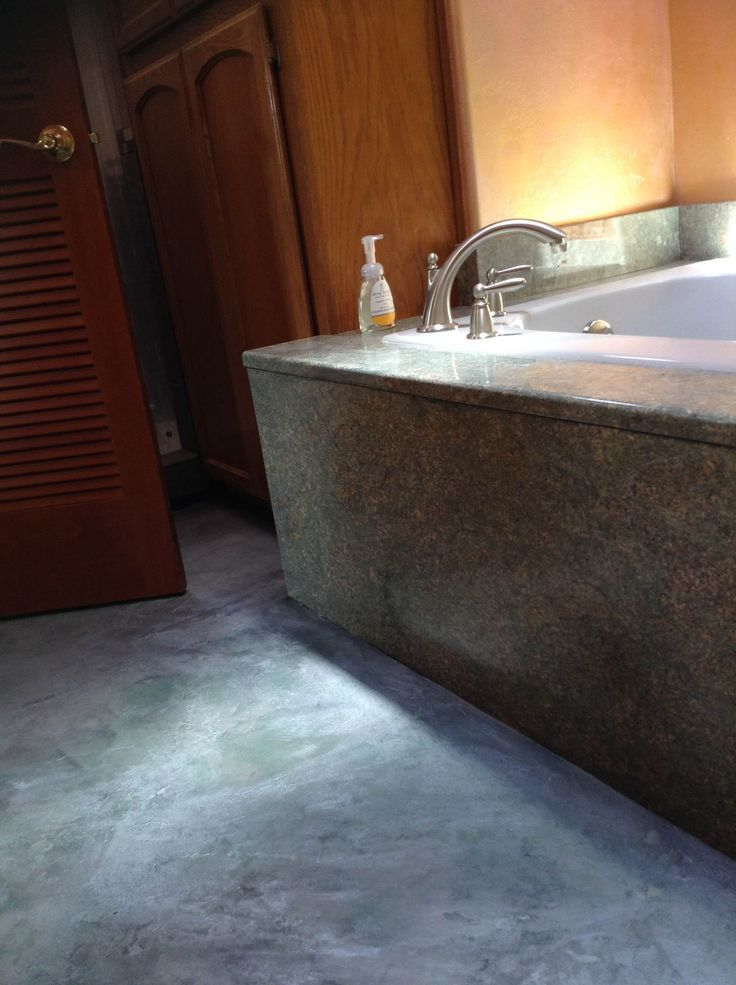 Bathroom remodel concrete flooring on a budget but for Concrete floor refinishing