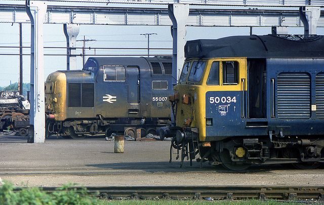 Two generations of English Electric diesel traction seen at Doncaster Works on 31st May 1982, but there for very different reasons. 50034 (ex D434) 'Furious' will shortly be completely refurbished, whilst 55007 (ex D9007) 'Pinza' has already run it's last race and sadly the Deltic was cut up that August. Furious was eventually consigned to history eight years later. It is very sad that everything in this picture (except maybe the trees) has now disappeared forever.