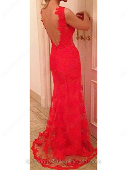 Trumpet/Mermaid V-neck Lace Sweep Train Appliques Prom Dresses -USD$142.16