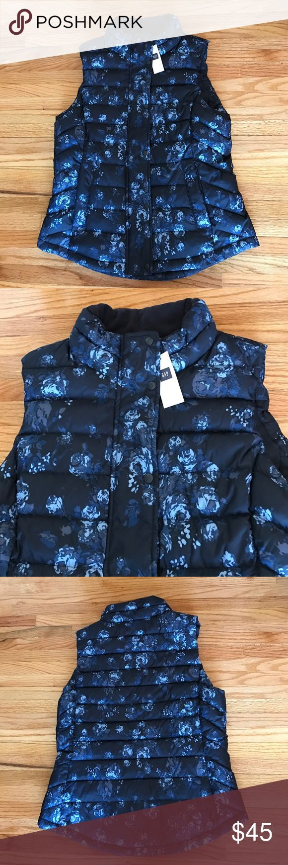 Gap Floral Vest NWT Gap Floral Vest. Size: Small. Color is dark navy blue with different shades of blue flowers & gray pattern throughout Vest. Zipper & snap button closure. 2 pockets. Fully lined. Looks great paired with blue jeans! Machine wash. Tumble dry. NO TRADES. GAP Jackets & Coats Vests