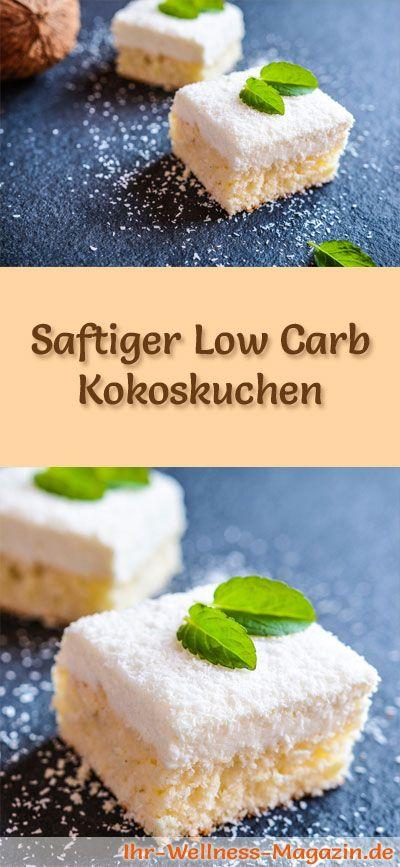 Rezept für einen saftigen Low Carb Kokoskuchen: Der kohlenhydratarme, kalorienreduzierte Kuchen wird ohne Zucker und Getreidemehl zubereitet ... #lowcarb #Kuchen #backen