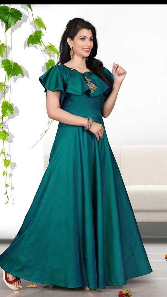 5a69ea9cea Indian Bollywood Designer New Style silk gown maxi Kurti women ethnic dress-sk04   Handmade  kurta  casualpartywear