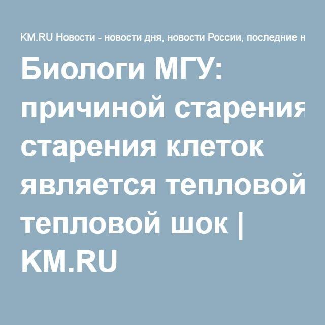 Биологи МГУ: причиной старения клеток является тепловой шок | KM.RU