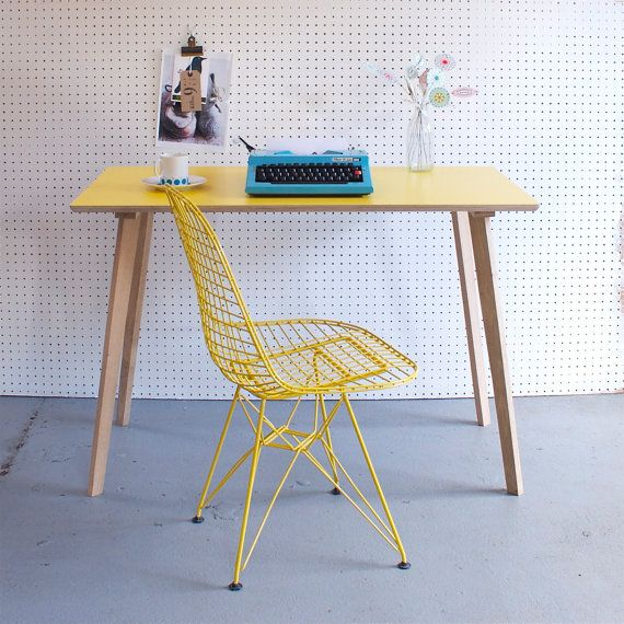 Perky Formica Table / Desk in Yellow by wintersmoonuk on Etsy, £255.00