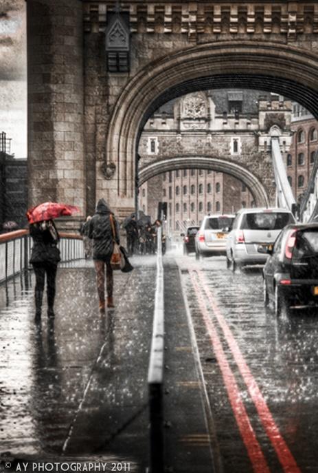 Tower Bridge in the rain.