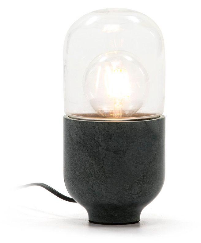 Lampe De Table Verre Transparent Et Marbre Gris Trois En 2020 Table En Verre Lampes De Table Et Marbre Gris
