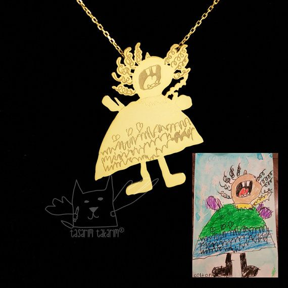 Personalized jewelry, custom made gold plated silver necklaces from your children's drawings, perfect gift, kids drawing jewellery