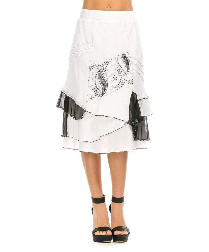 Look at this White & Black Leaf Ruffle A-Line Skirt - Women & Plus on #zulily today!