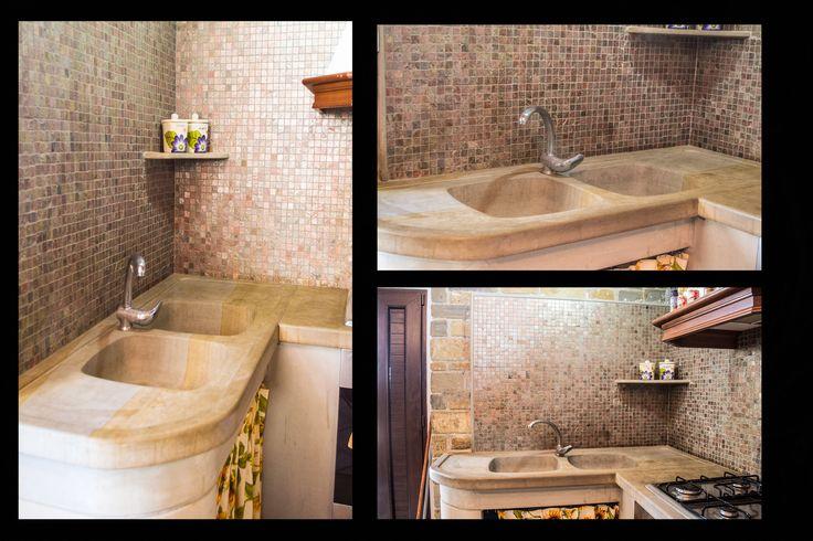 lavabi in pietra e muratura mosaico. il tutto realizzato con perizia in pietra arenaria F.lli Grieco