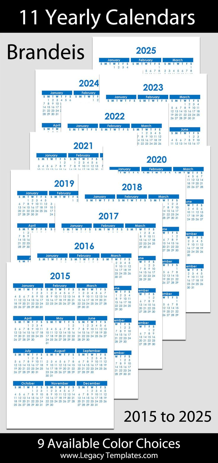 2015 to 2025 Printable Yearly Calendars - jr/half-letter size – 5 1/2″ x 8 1/2″. The calendars are available in a variety of colors. Save by purchasing multiple years. Calendar bundle is $7.  #calendars, #printable, #yearly, #pdf, #blue, #green, #purple, #pink, #red, #bright colors, #multi-colored, #purple, #downloadable, #half-letter, #5 1/2 x 8 1/2, #franklin classic, #instant download, #planner