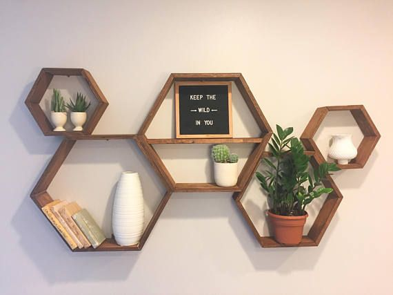 Hexagon Shelf Unit, Wall Storage, Geometric Decor, Boho Style Decor