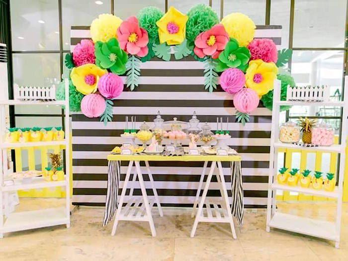 Saw table party set up from Tropically Flamingo Themed Birthday Party at Kara's Party Ideas. See the whole party at karaspartyideas.com!