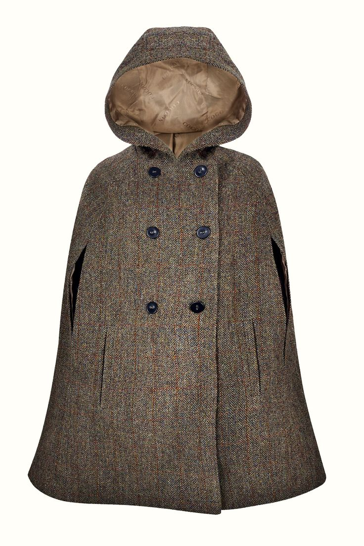 Hepburn Earth Hooded - Luxuriously crafted in a classic brown & green Harris Tweed, this timeless cape embodies the country chic lifestyle and offers an elegant replacement to your classic cool weather jacket. With its large, slouched hood, this cape will be the perfect choice for outerwear all year around.