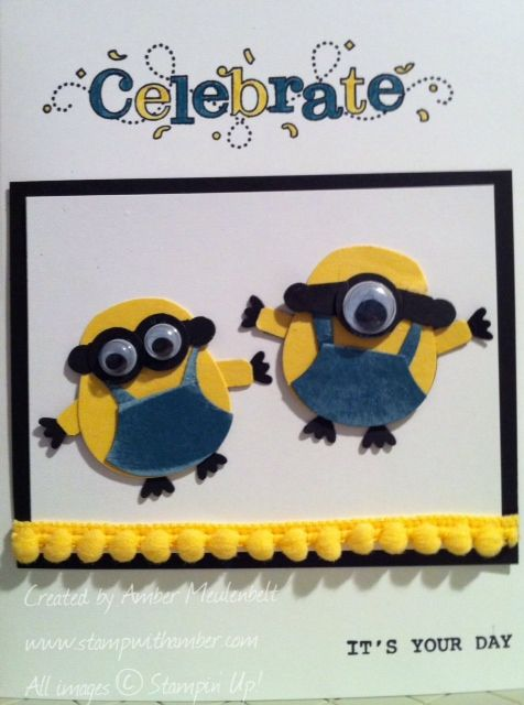 """Minions - By Amber Meulenbelt... using the Owl Builder punch, Jewelry Tag punch, and 1/2"""" Circle punch... add Googly eyes! So CUTE!"""
