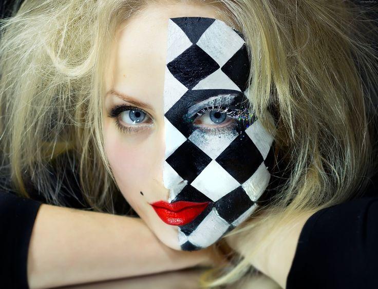 Kobieta, Blondynka, Niebieskie, Oczy, Abstrakcyjny, Makijaż