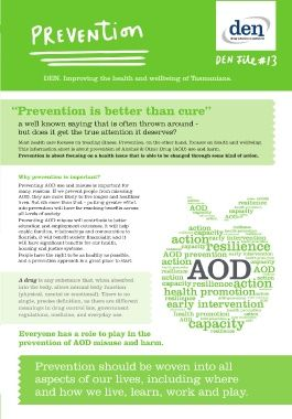 An extensive six-page brochure discussing what Prevention is, why prevention is important, and how to take action.