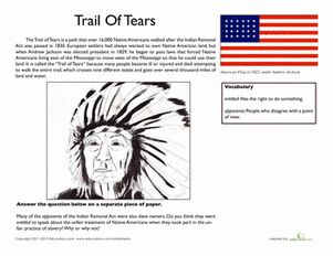 Middle School Civics & Government Comprehension Worksheets: Trail of Tears