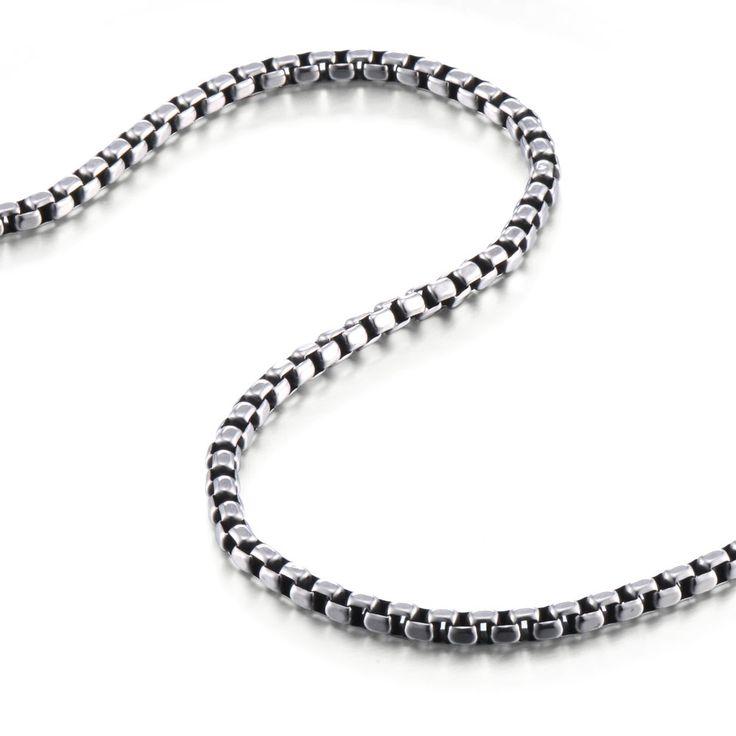 R&B Schmuck Herren Halskette Edelstahl - Kollektion Bad Ass - Venetian Stil, Glatt (5mm, Silber, Schwarz): 19,90€