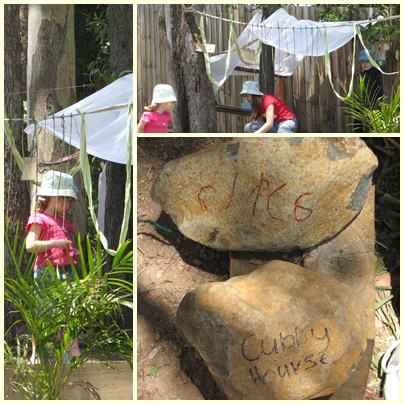 Make your outdoor cubby with a sheet, string and outdoor nature