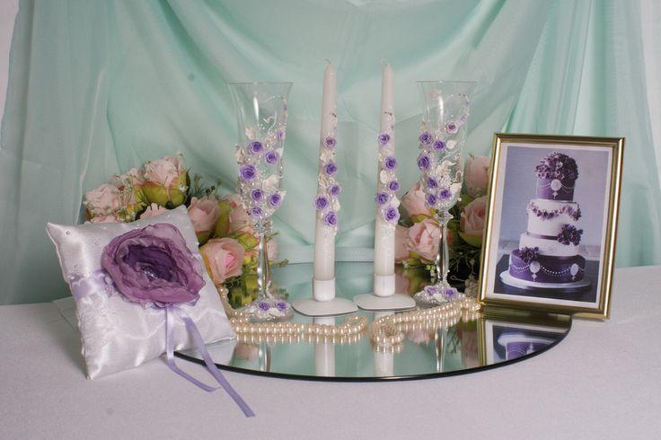 Комплект атрибутов ручной работы с сиреневыми розами  из полимерной глины  #свадьбы #атрибуты #аксессуары #сиреневый #ручная_работа #soprunstudio