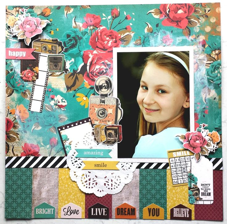 """""""Amazing Smile"""" Layout by Amanda Baldwin. for Kaisercraft using """"Close Up"""" Collection. November 2014 Wendy Schultz ~ Scrapbook Pages 1."""