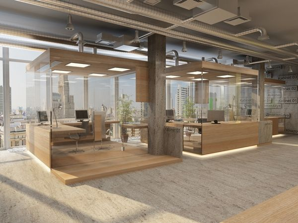 Private offices meeting spaces as furniture project office for Industrial office interior