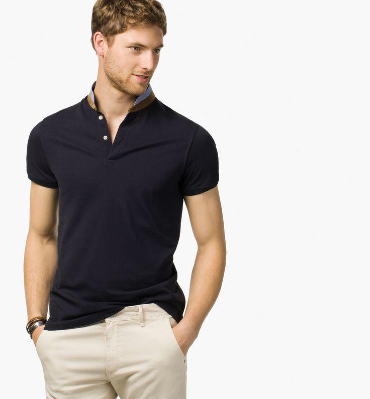 Plain Polo Shirt With Mao Collar Polos Men Egypt