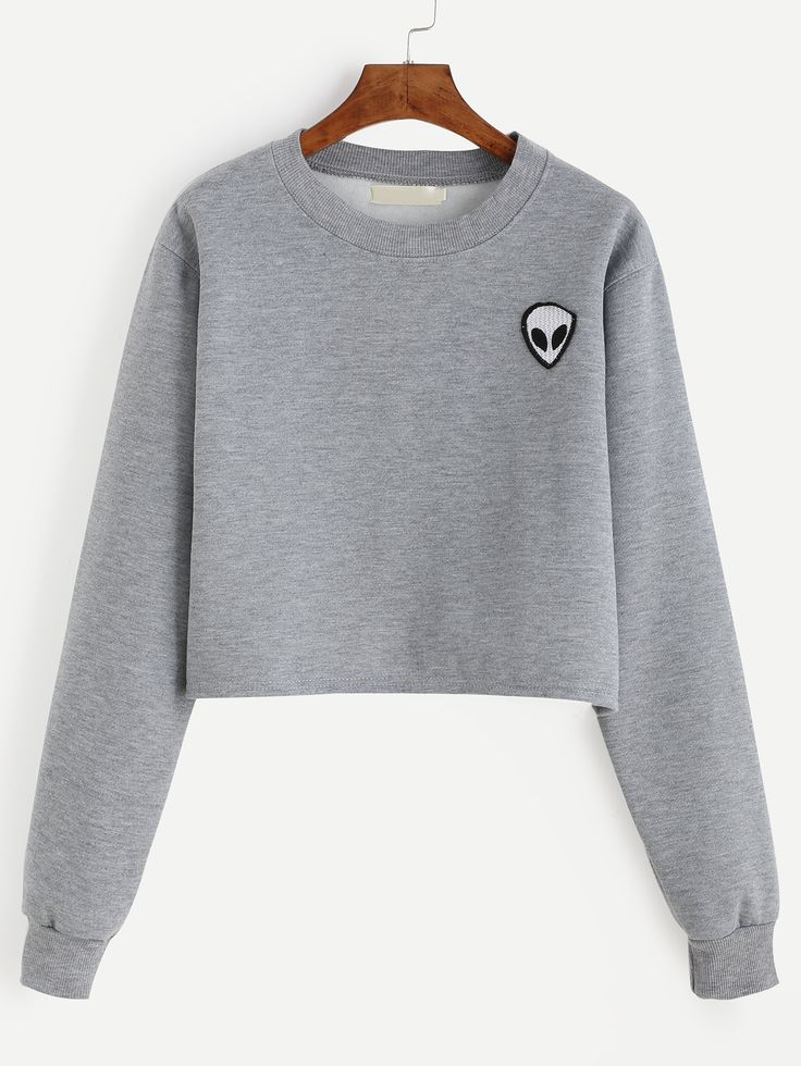 Shop Grey Alien Patch Crop Sweatshirt online. SheIn offers Grey Alien Patch Crop…