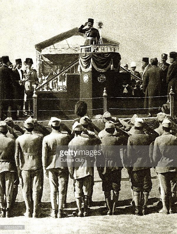 Mohammed Nadir Shah (1883-1933). King of Afghanistan from 15 October 1929 until his assassination in November 1933. Seen attending Independence Day celebrations on 19th August 1929. Original photo appeared as front cover of Illustration (French perodical) 9th September 1929.