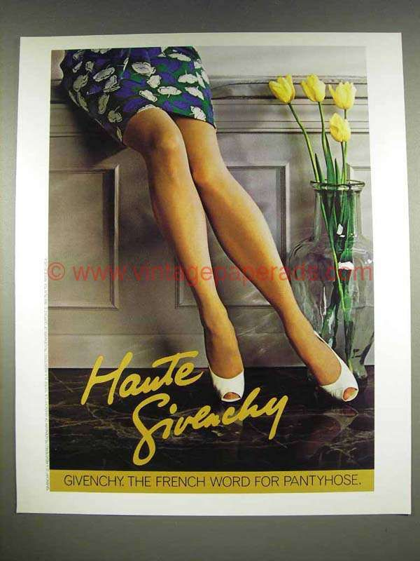db9c1769aa68a 1986 Givenchy Pantyhose Ad - Haute Givenchy in 2019 | Lingerie ...