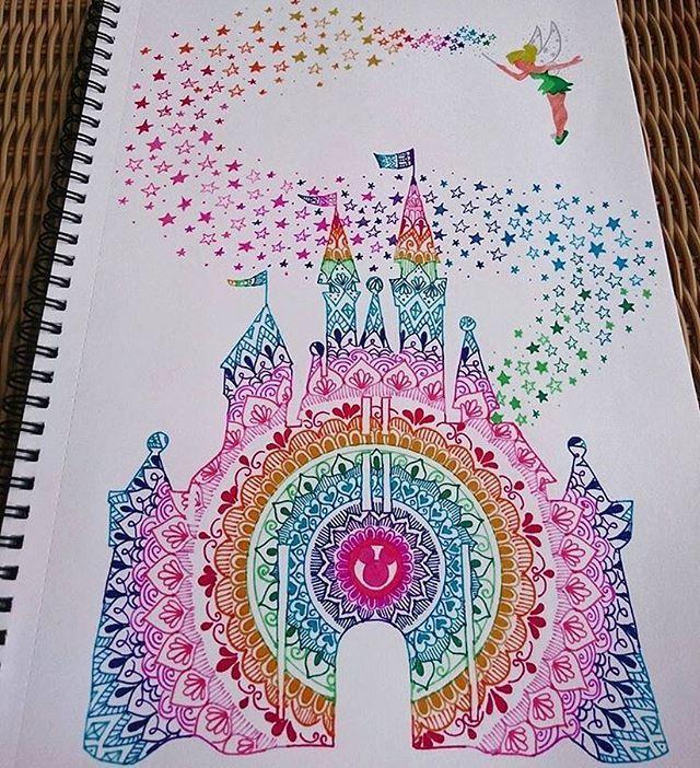 beautiful rainbow mandala disney castle by ivanacoppolaart