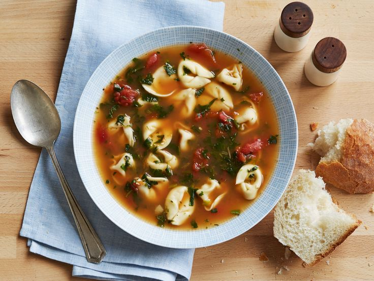 Spinach Tortellini Soup Recipe : Food Network Kitchens : Food Network - FoodNetwork.com *Use vegetable stock instead
