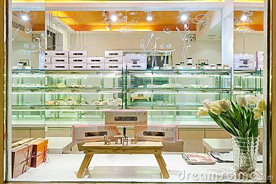 Interior of cake shop
