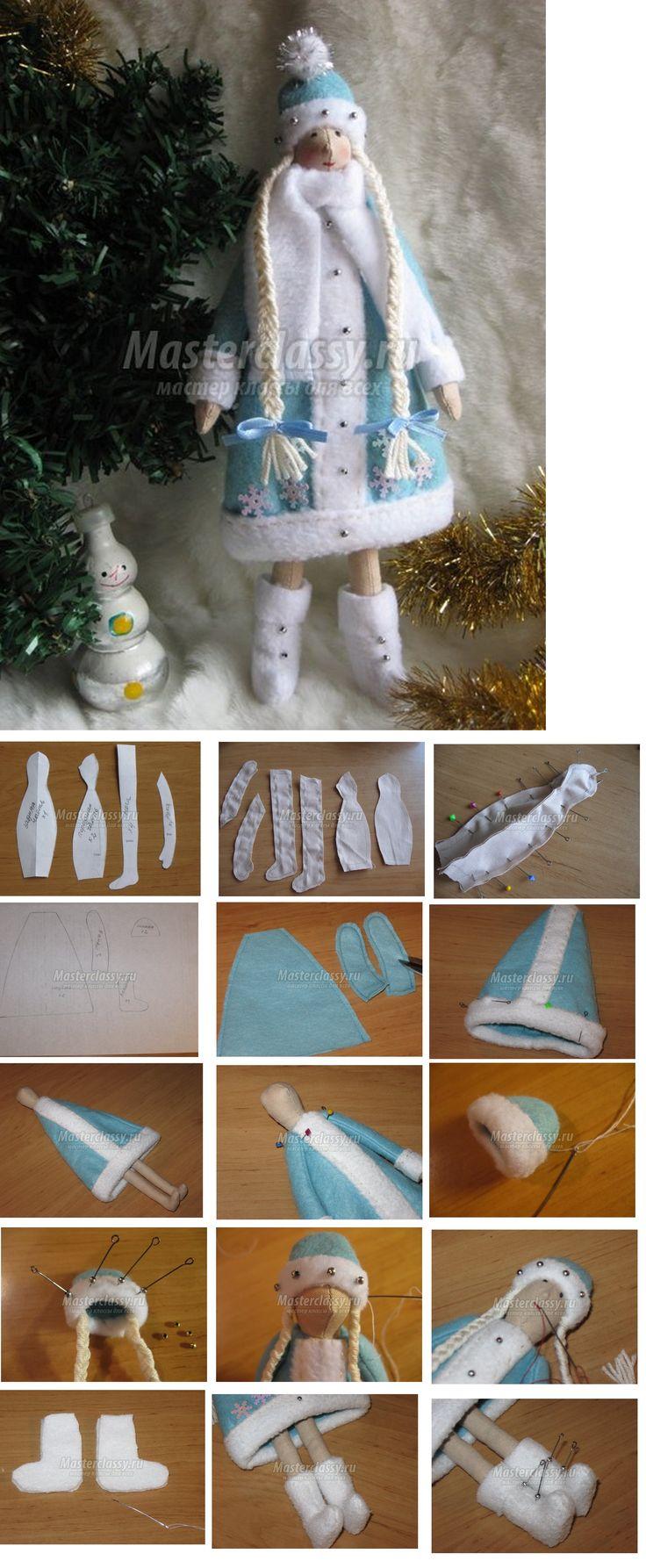 Winter Tilda in light blue & white snowflake coat