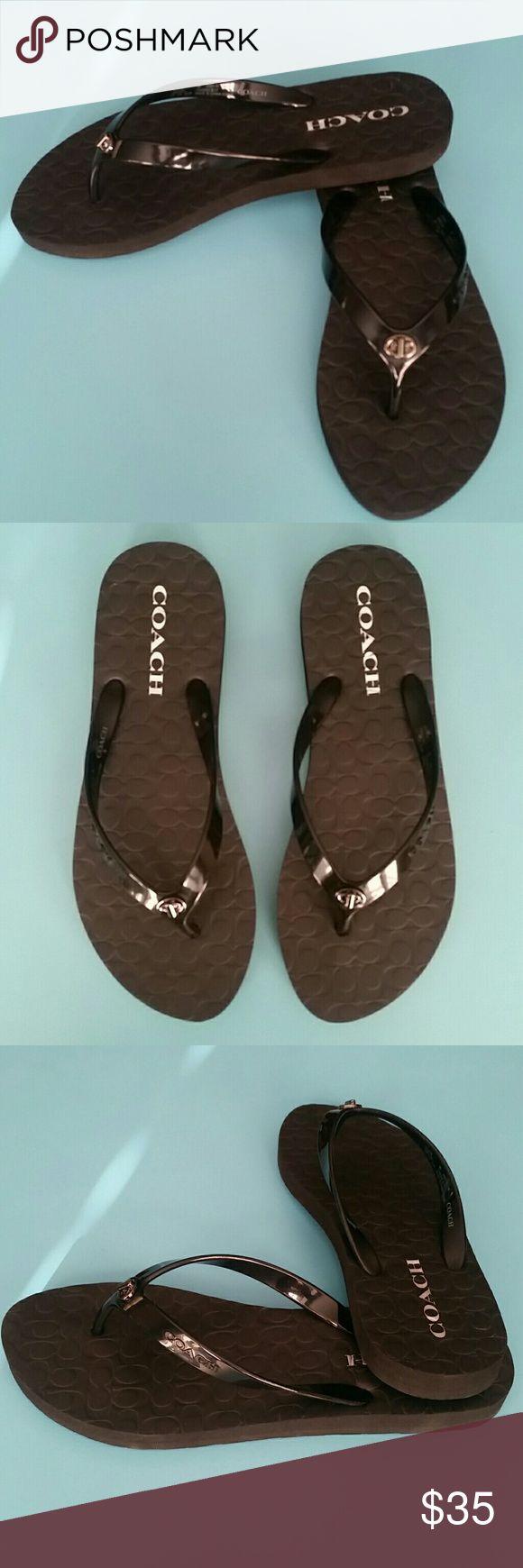 Shoes sandals flip flops - Coach Abbigail Black Flip Flops Nwot Nwt