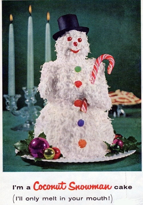 Snowman coconut cake recipe from a Durkee Foods ad. Better Homes ...