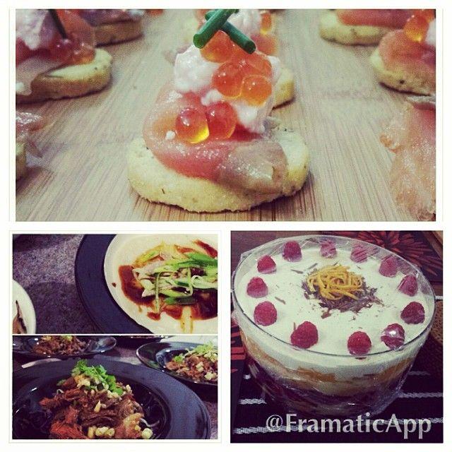 Mixed menu. #delicious #shantung #pekingduck #trifle #smokedsalmon #confused